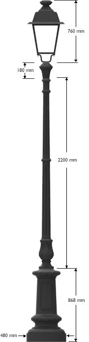Palo in ghisa con lanterna in alluminio cablata LED 602.SA12P 42,2 W 3000K 3702 lumen