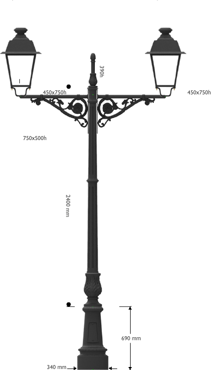 Palo in ghisa con base circolare piccola e mensola doppia AC516 con due lanterne led 40W