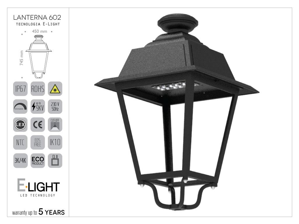 Artistic die-cast Aluminium Lantern with E-Light LED 36W - 7655lm - 3k - Rotosymmetric Optic