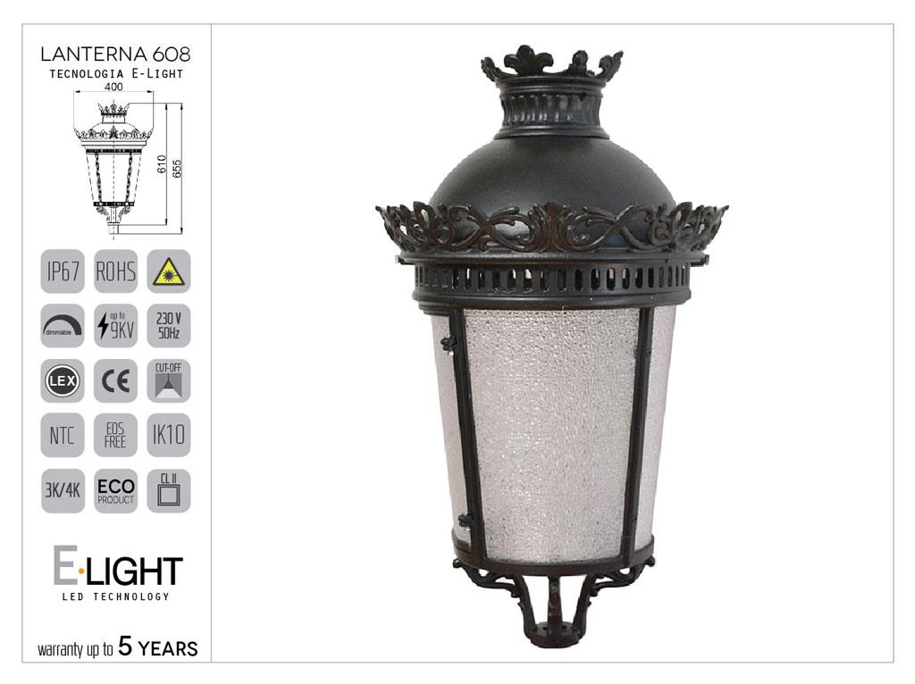 Lanterna artistica tipo imperiale Media con fregi ornamentali in alluminio con tecnologia led E-Light