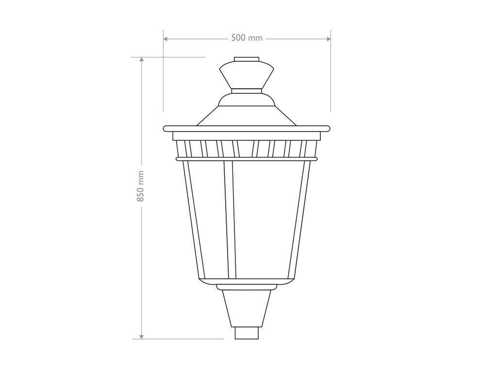 Lanterna tipo Campidoglio in lastra di alluminio piccola - 2D