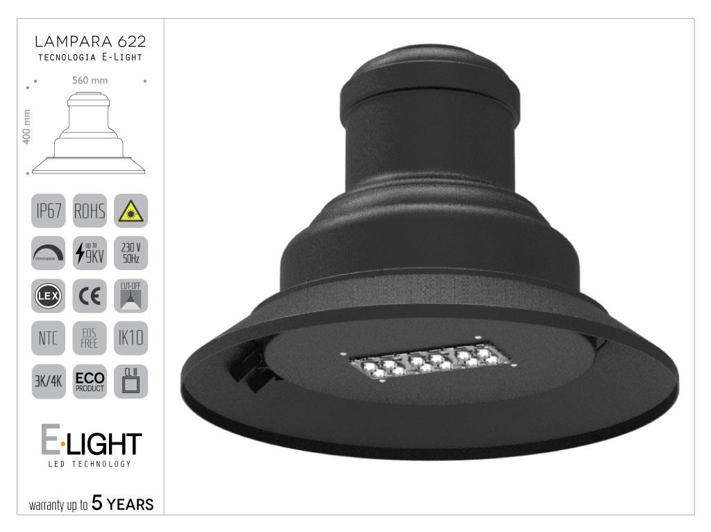 Lampara 622.LO in alluminio con tecnologia OSRAM- 30w - 2880lm - 4k ottica ellittica