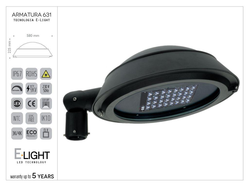 Armatura stradale 631 in alluminio con tecnologia led E-light 105w - 14800lm - 4k - ottica asimmetrica