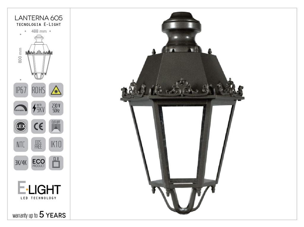 Lanterna esagonale grande in acciaio con cappello aperto o chiuso ed ornamenti