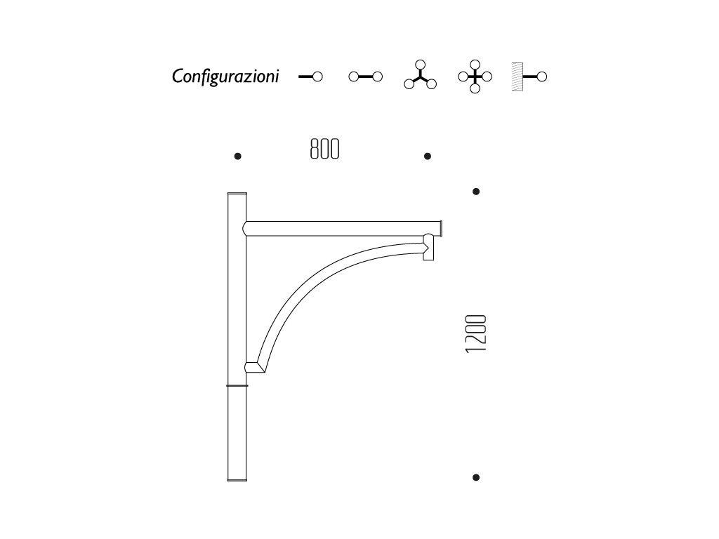 Braccio serie INNER con arco - dimensioni