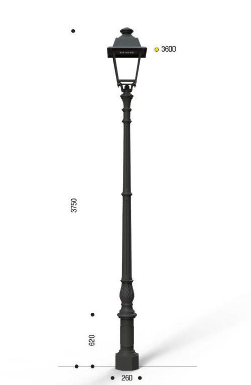 Palo in ghisa artistico classico tipo Challant con lanterna quadrata CUT OFF cablata per lampada S.A.P.
