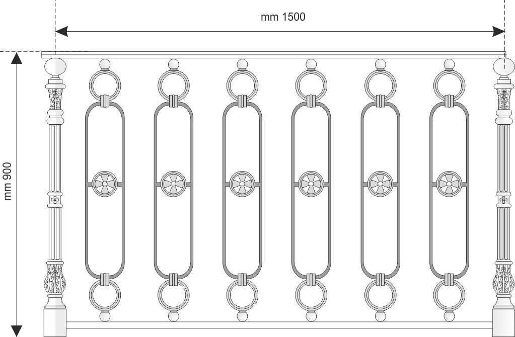 Ringhiera in ghisa con disegno classico con fiori stilizzati e cerchi ornamentali