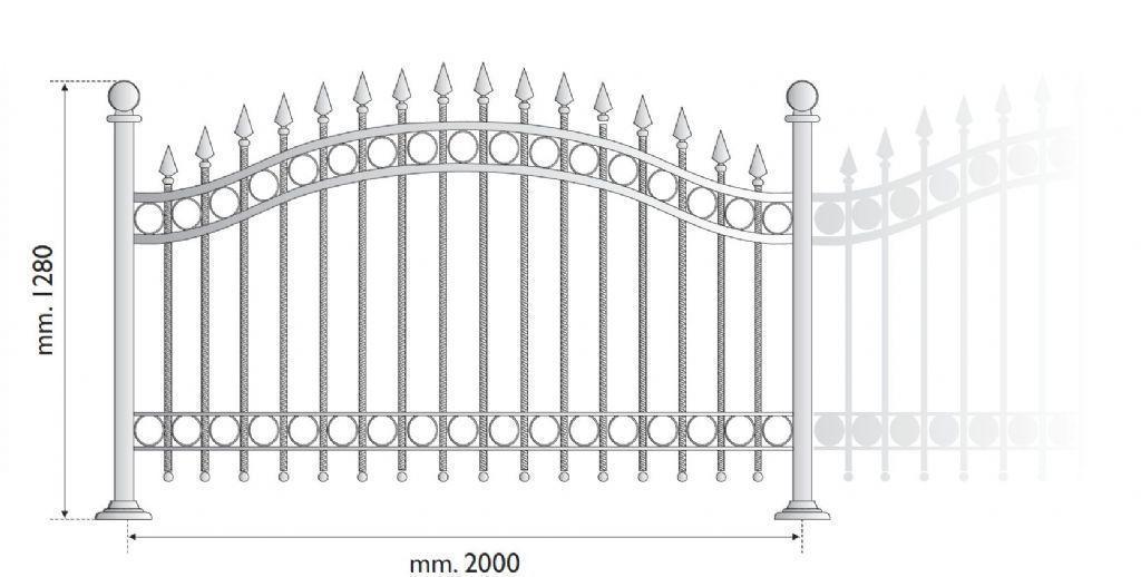 Ringhiera in acciaio con disegno classico con riccio sul corrimano