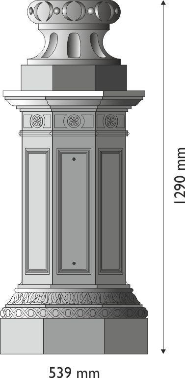 Base in esagonale grandissima in ghisa UNI EN 1561 GJL250 per pali in acciaio