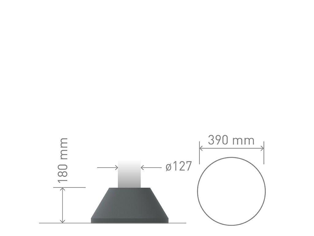 Base conica circolare di tipo moderno in ghisa o alluminio per pali in acciaio.