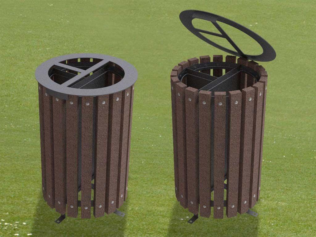 Cestone porta rifiuti in STRONGPLAST o legno