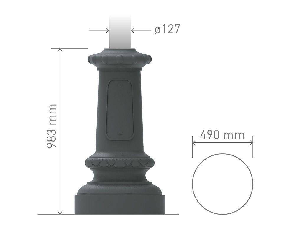 Base in ghisa UNI EN 1561 GJL250 per pali in acciaio circolare grande.