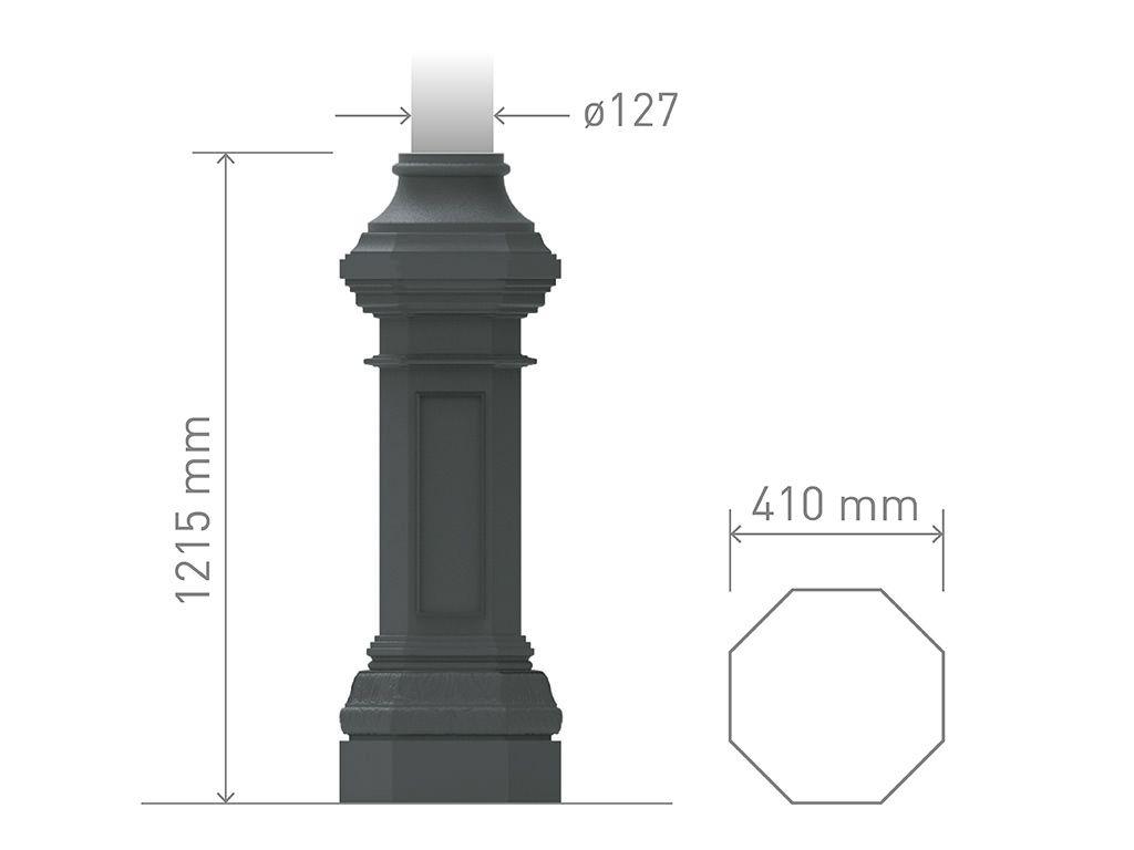 Base in ghisa UNI EN 1561 GJL250 per pali in acciaio ottogonale grande.