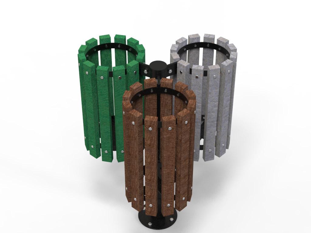 Cestino porta rifiuti in STRONGPLAST o legno - prospetto