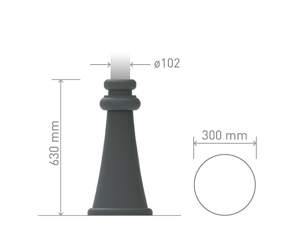 Base in ghisa UNI EN 1561 GJL250 o alluminio per pali in acciaio circolare media.