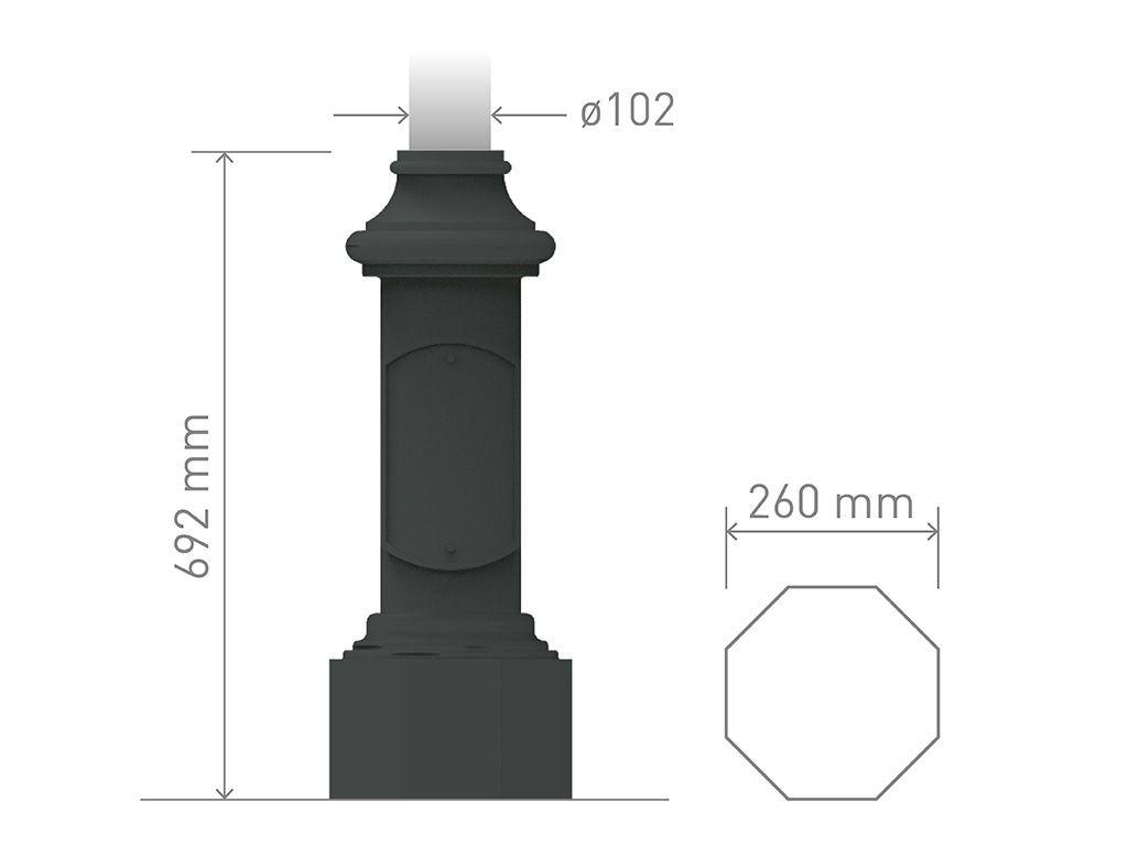 Base in ghisa UNI EN 1561 GJL250 per pali in acciaio ottagonale media.