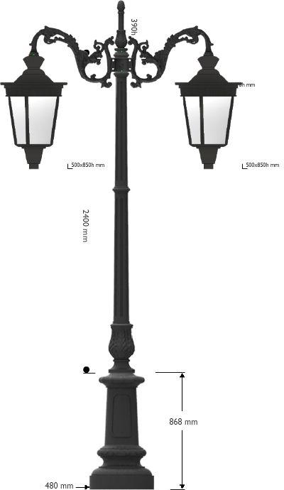 Palo artistico in ghisa con cima doppia e due lanterne Campidoglio predisposte per lampada E27