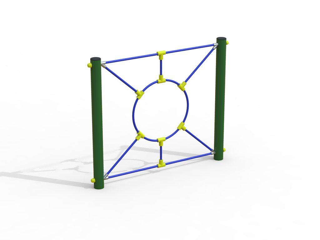 Pannello sensoriale Spider con corda e cerchio al centro