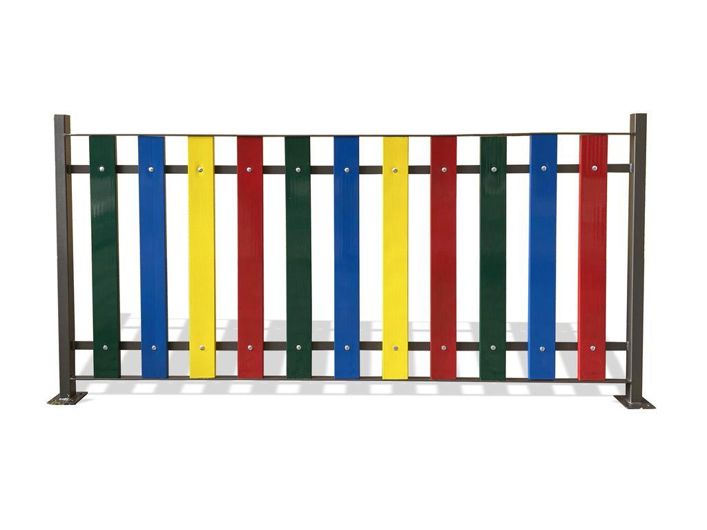 Ringhiera in acciaio tipo Rainbow - misure cm 200 x 100h, a flangia