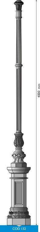 Palo in fusione di ghisa UNI EN 1561 GJL250 con base ottagonale grande