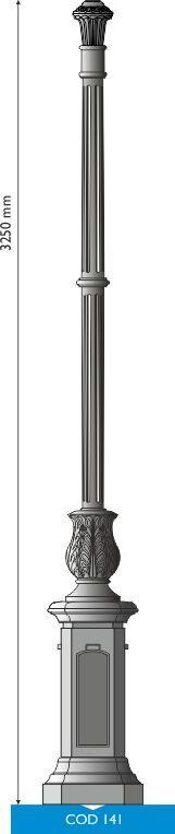UNI EN 1561 GJL250 cast iron pole with medium octagonal base.