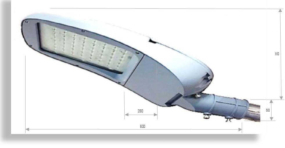 Gruppo testa palo per fotovoltaico incluso armatura stradale 30W