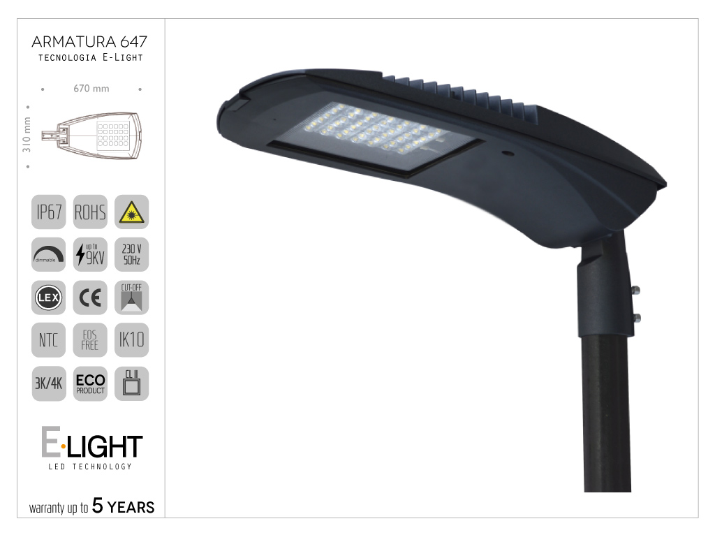 Armatura stradale Ori1 cablata LED con n° 32 chip - 57w , 6400 lumen , 4K ,T.vita 80000h ottica asimmetrica