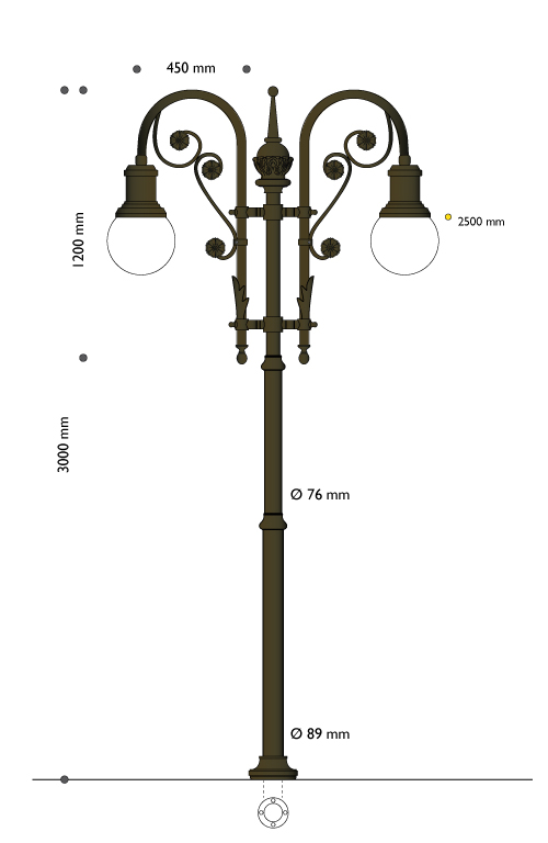 Artistic pole with ornamental flower and lighting equipment E27 enabling