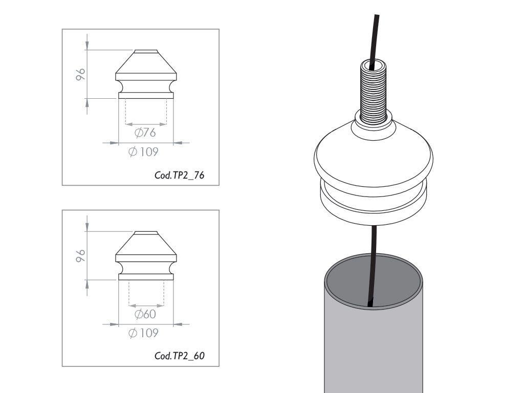 Testa palo per pali in acciaio per attacco lanterna a portata