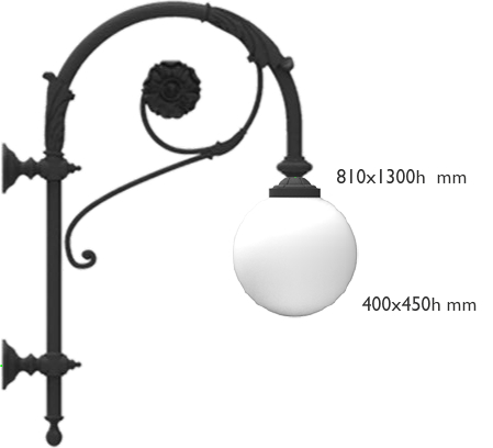 Borromini pole top with two curved double curl and flower decorated bracket with 616.400 lighting fixture E27 BULB enabling