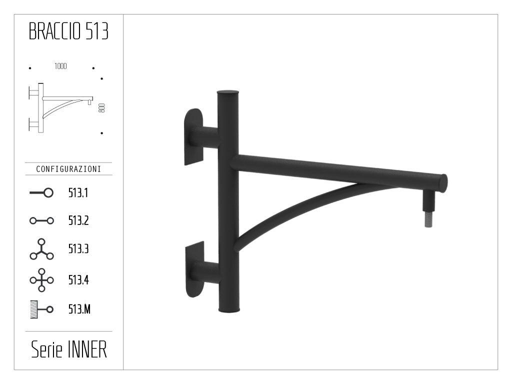 Braccio serie INNER con ornamento curvato - a muro