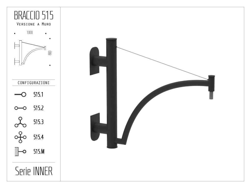 Braccio serie INNER con ornamento curvato e tirante - a muro