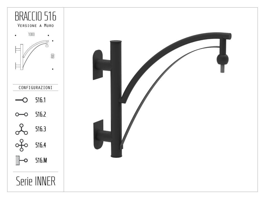 Braccio serie INNER con doppio ornamento curvato - a muro