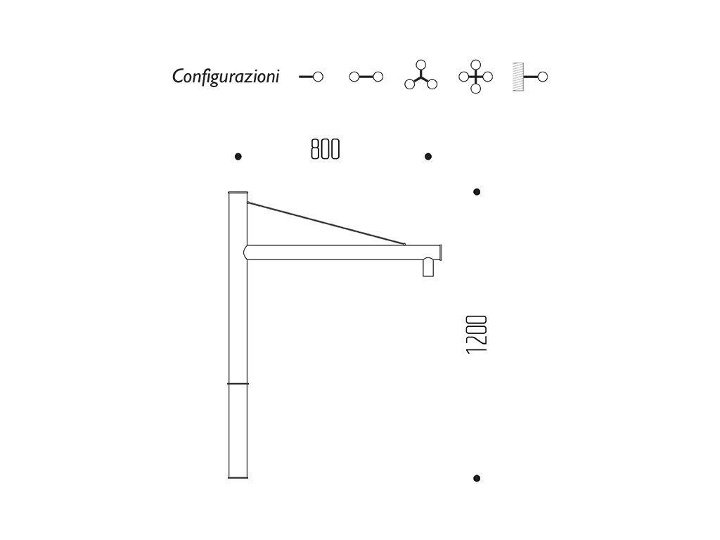 Braccio serie INNER con tirante - dimensioni