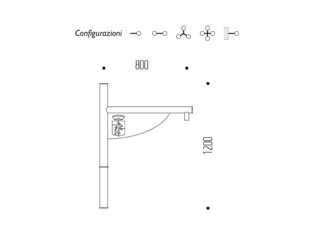 Braccio serie INNER con bandiera - dimensioni