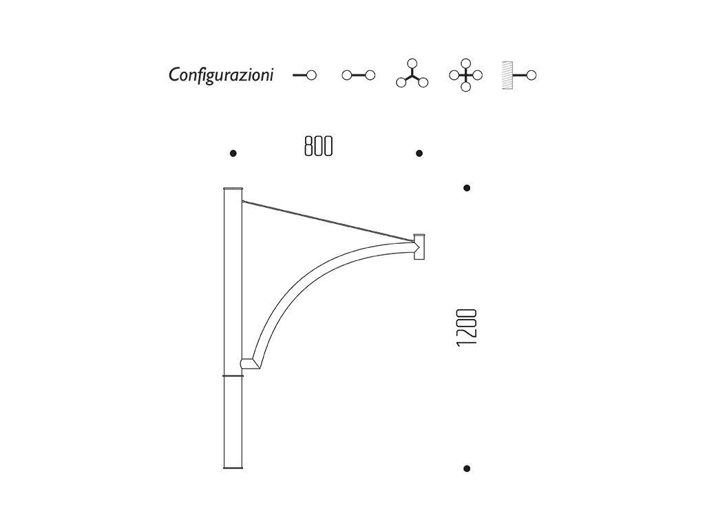 Braccio serie INNER con arco e tirante - dimensioni