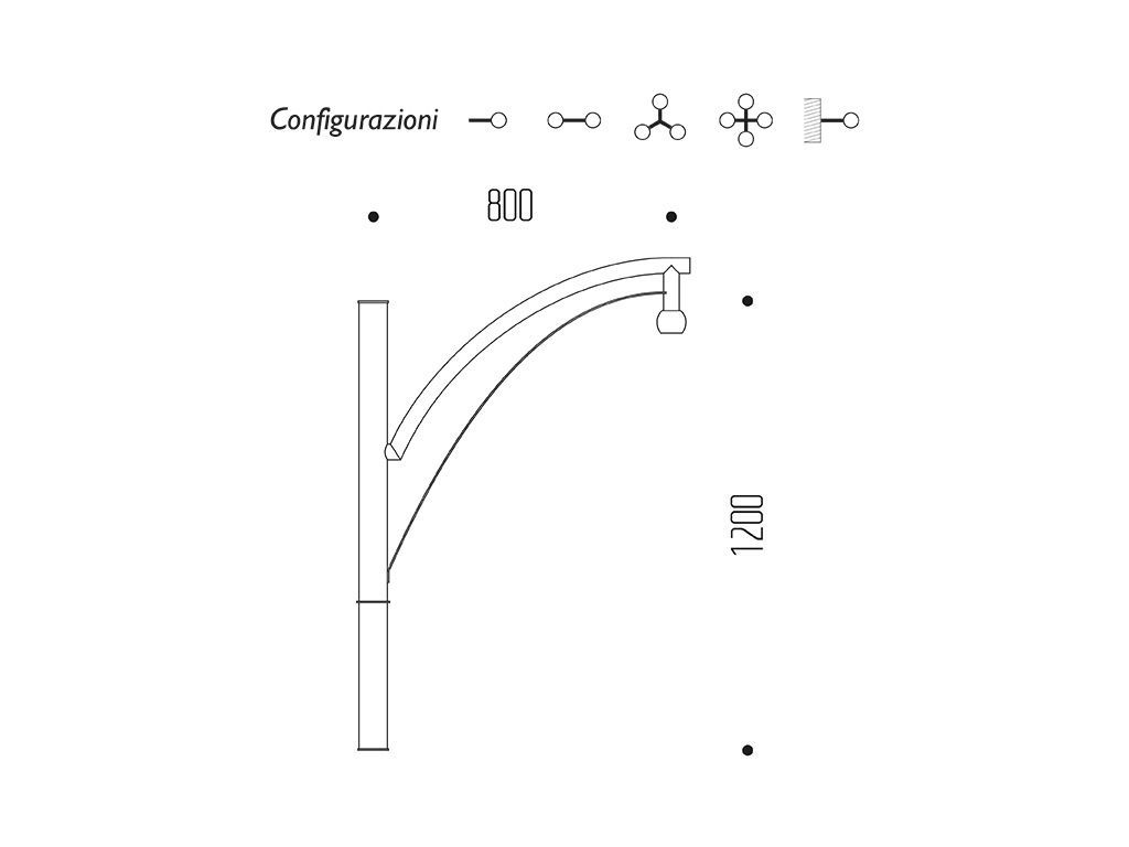 Braccio serie INNER con doppio arco - dimensioni
