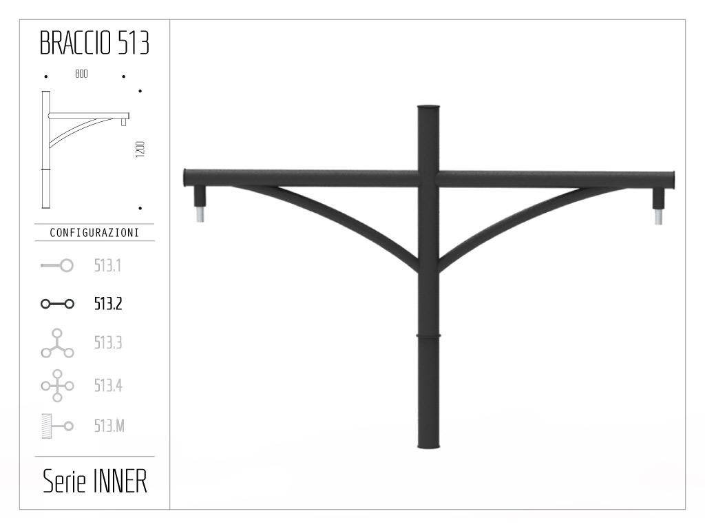 Braccio serie INNER con ornamento curvato - doppio