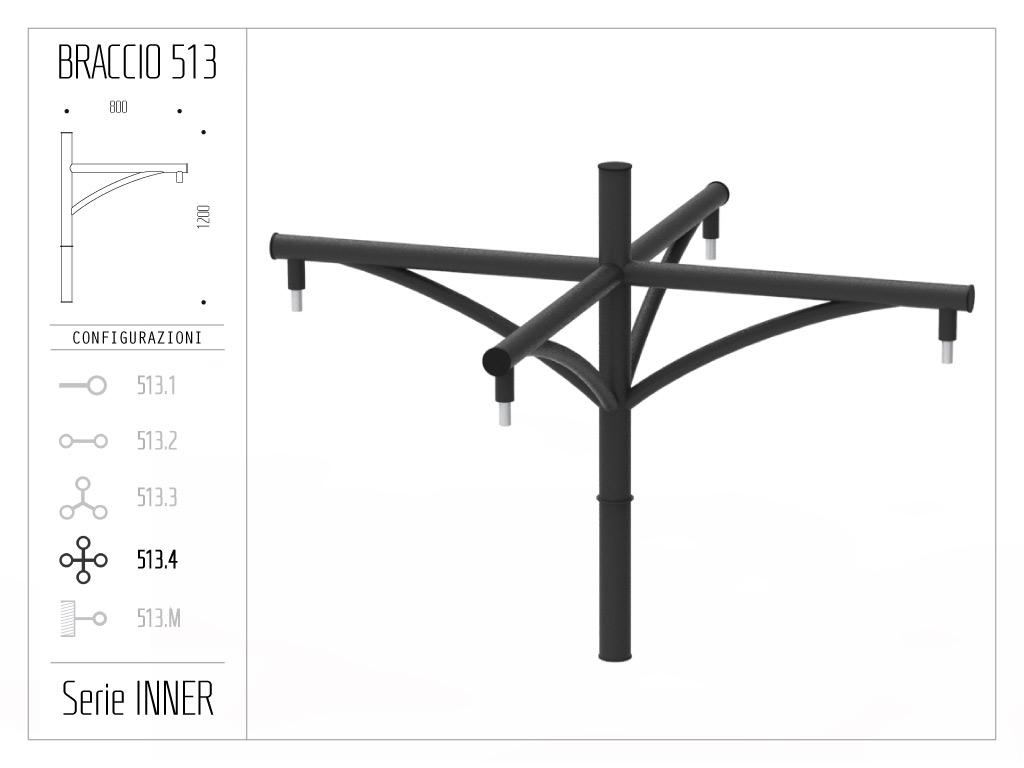 Braccio serie INNER con ornamento curvato - quadruplo