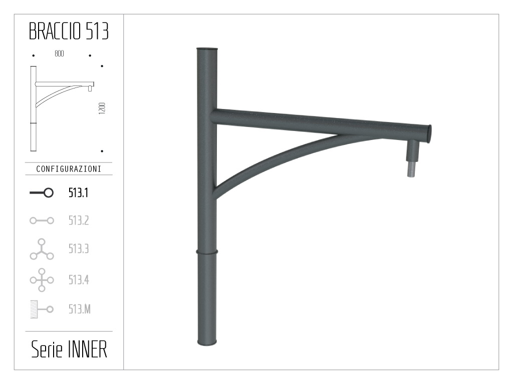 Braccio serie INNER con ornamento curvato - singolo