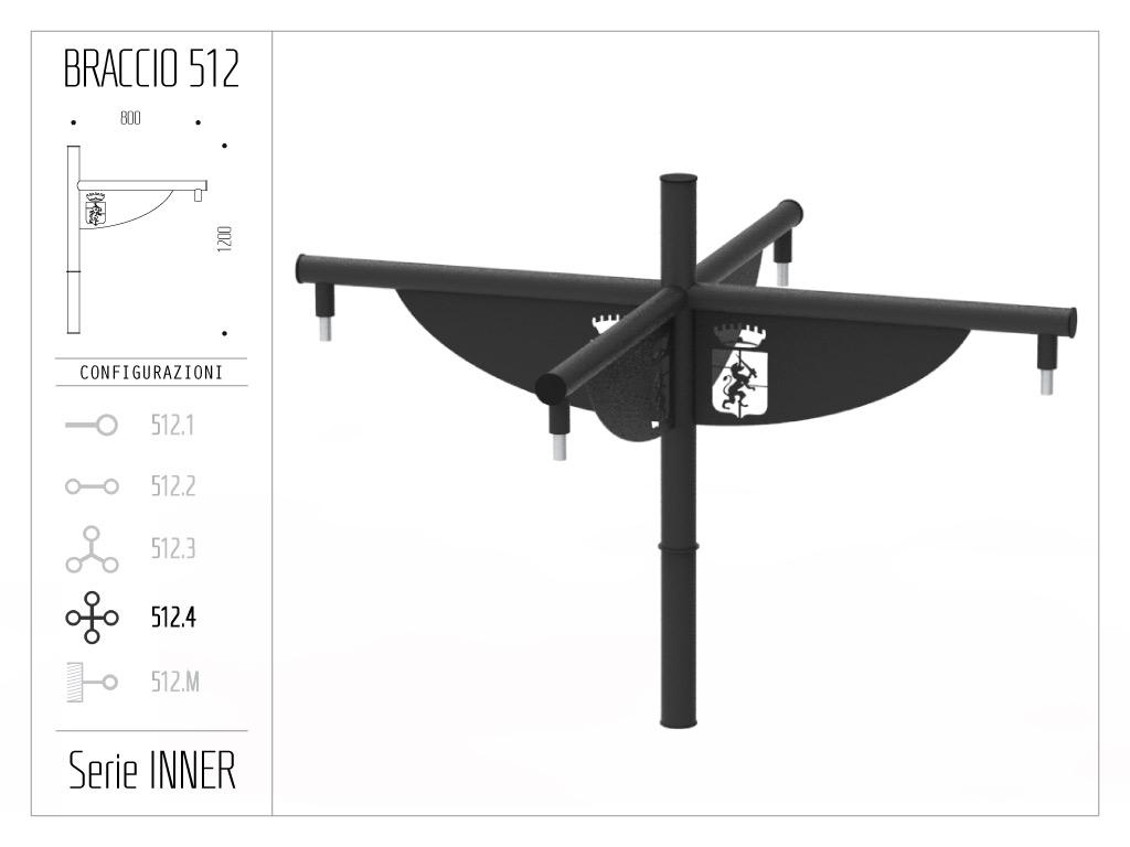 Braccio serie INNER con bandiera - quadruplo