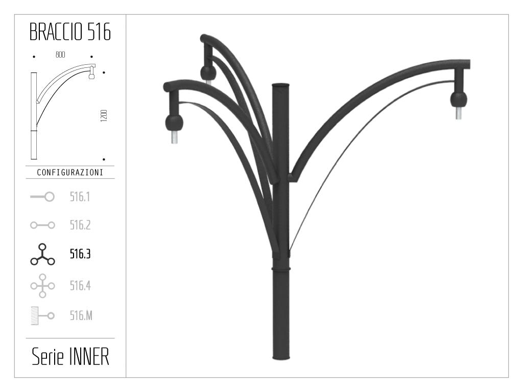 Braccio serie INNER con doppio ornamento curvato - triplo
