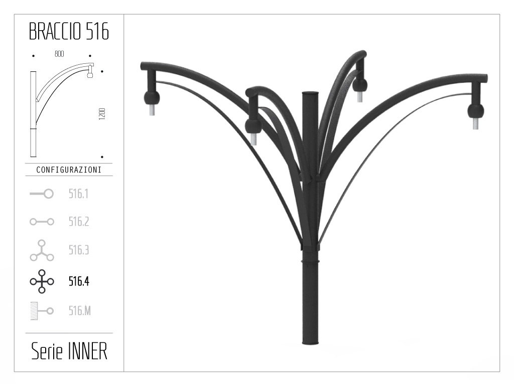 Braccio serie INNER con doppio ornamento curvato - quadruplo