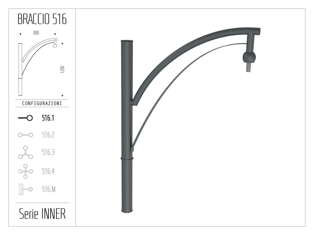 Braccio serie INNER con doppio ornamento curvato - singolo