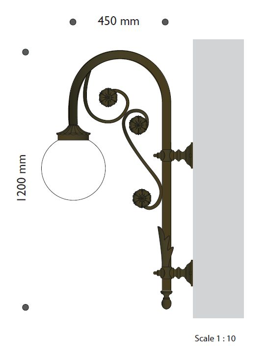 Artistic bracket with ornamental flower and lighting globe E27 enabling
