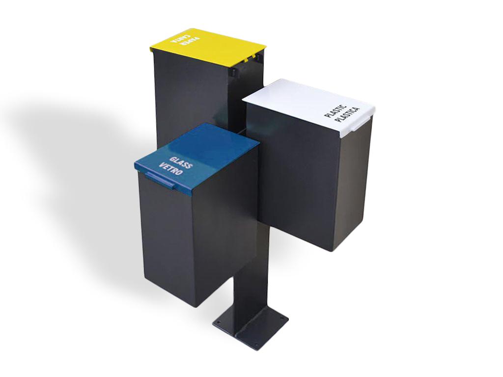Cestino triplo blu, giallo, bianco con copricesto chiuso o colori RAL a scelta del cliente