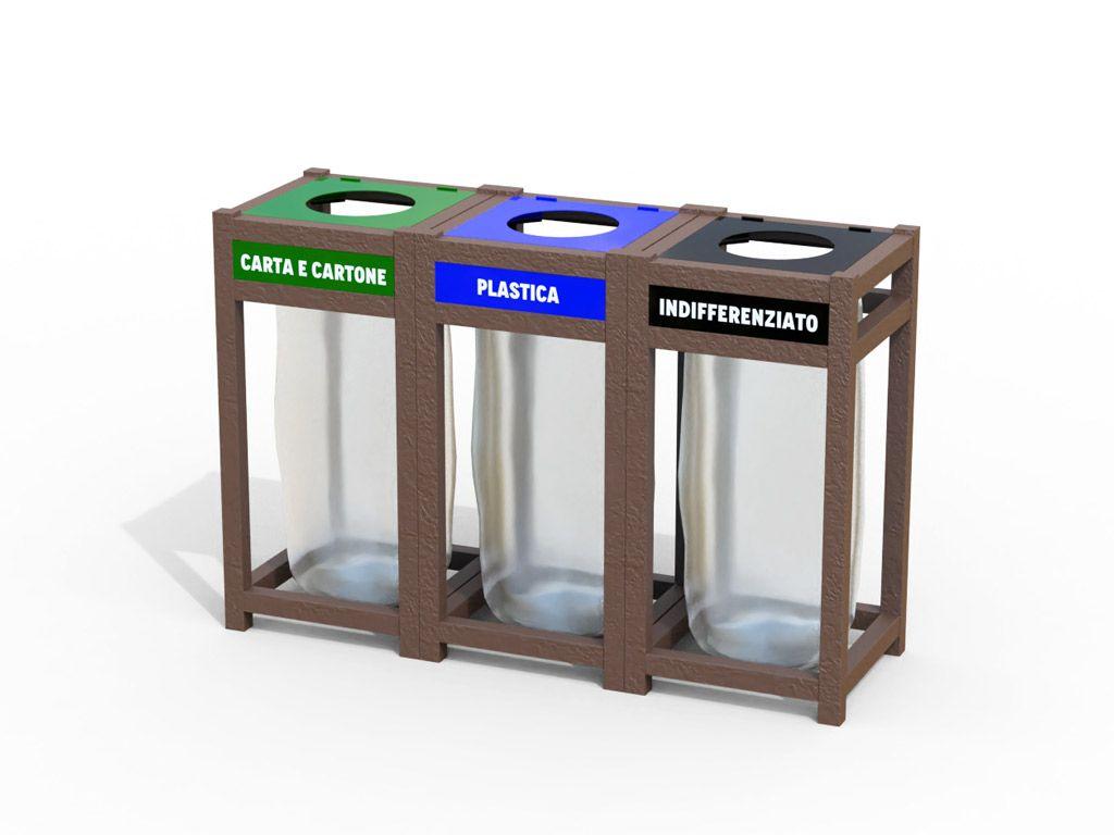 Cestone triplo antiterrorismo in plastica riciclata STRONGPLAST - plastica riciclata post consumo