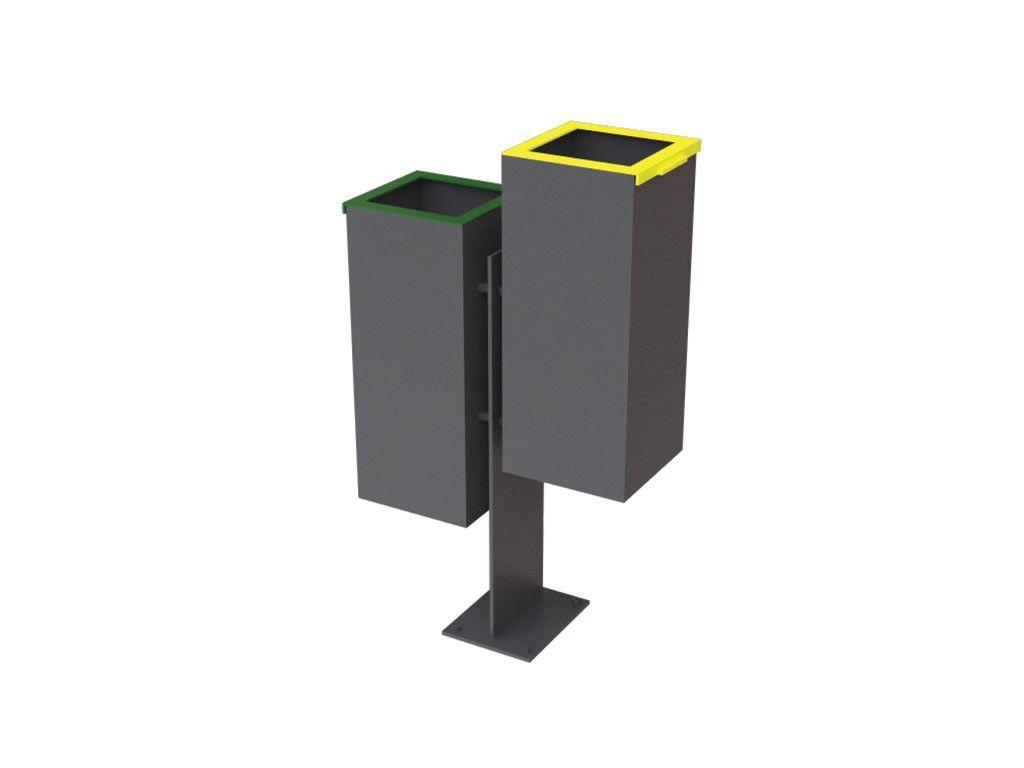 Cestino doppio colore giallo e verde con copricesto aperto o colori RAL a scelta del cliente