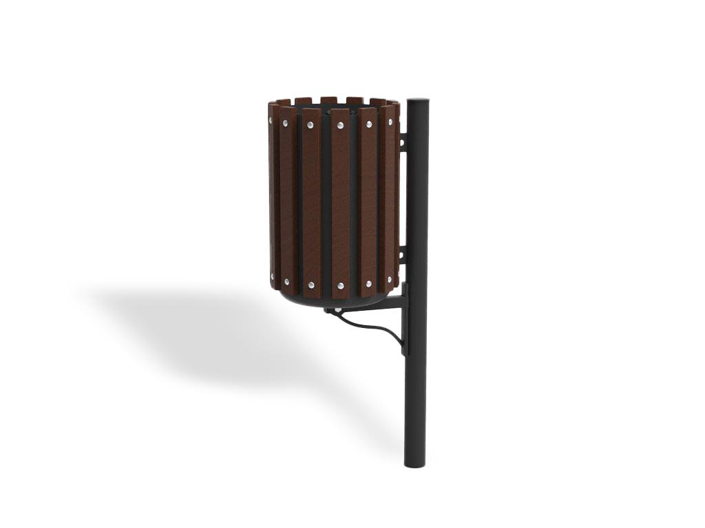Cestino Marinetti con paletto in acciaio e mensola rivestito in legno