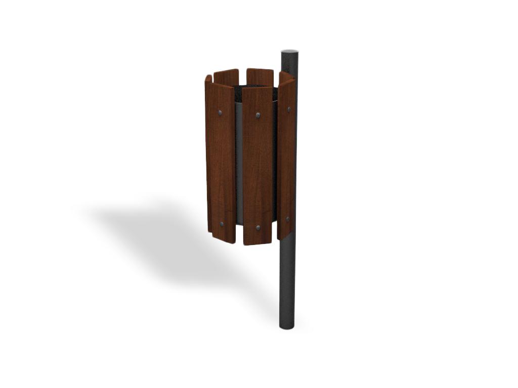 Cestino piccolo capienza 20lt con paletto in acciaio rivestito in legno